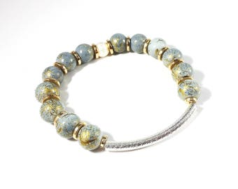 Silver Gold Splatter~ Handmade Beaded Stretch Bracelet~ Sterling Silver Filled Luster Tube Bead~ Silver Gold Mix~ Adjustable~ Gift for Her