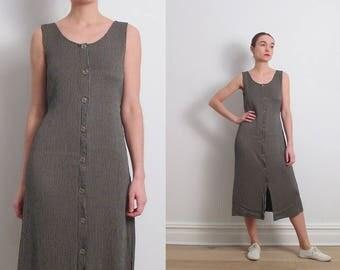 80s Minimalist Grey Striped Button Front Dress / S-M