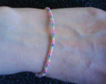 LoliRosa Candy Rainbow Glass Seed Bead Stretch Bracelet