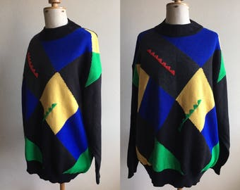 Vintage Colour Block Wool Christmas Jumper Pullover Sweater
