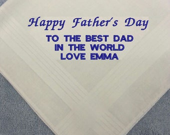 Personalised EMBROIDERED Mens Father's Day Dad Handkerchief Hankie Gift Gents Family Anniversary ANY MESSAGE