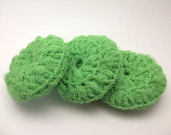 Nylon Scrubbies / Nylon Pot Scrubber / Crochet Dish Scrubby / Kitchen Scrubbies / Pot Scrubber / Cleaning Scrubber / Green Scrubbers