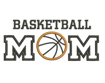 6 sizes - Basketball Mom Applique Design, Basketball Mom Embroidery Design, Basketball Embroidery Design, Basketball Applique Design