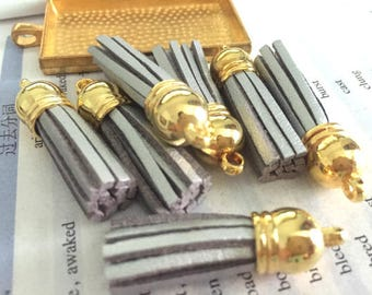 50pieces silver suede leather Gold plastic caps ear tassel --for length 45mm