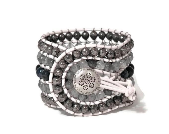 Boho Aleeza * 5 strand Statement Bracelet. Boho Style. Bohemian Jewelry. Semiprecious stones. Gift for her. Unique Design.