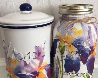 Iris utensil jar set ,mason jar, kitchen, storage, utensil jar, flowers, matching sets, Mother's Day, home decor,
