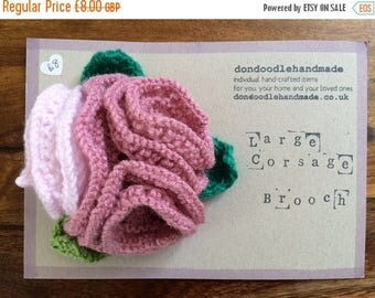 SALE Handmade Knitted Rose Corsage Brooch
