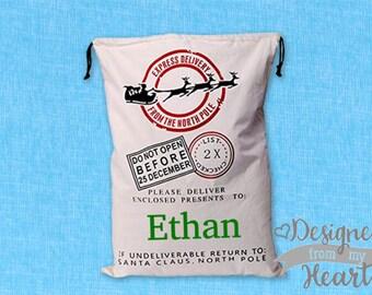 Personalized Santa Sack - Christmas Santa Bag - Christmas Gift Sack - Name Gift Bag - Santa Mail Bag - Personalized Bag - Holiday Bag -