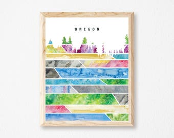 """Oregon Watercolor Painting Print, """"The Colors of Oregon"""""""