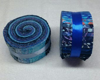 Batik Jelly Roll - Warm Blue Tones - 40 strips