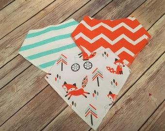 3 Pack Personalized Baby Bib Bandana Fox Orange Baby Boy Shower Gift FREE SHIPPING