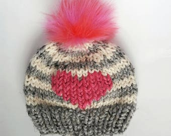 striped big heart hat, toddler heart hat, childs valentines day hat, pink faux fur hat, pink big heart hat, gray, white, pink, cute beanie