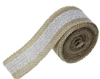 2 meters of jute decoration 5 cm lace white 62584 scrapbooking Ribbon.