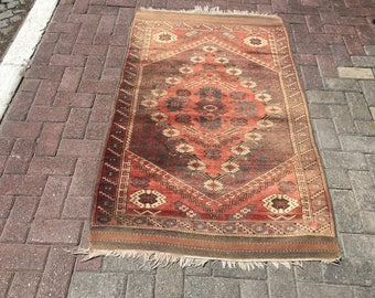 """Antique  Oushak rug,Bergama rug, Neutral Color rug,Area Rug,Muted Color Rug,Hand Knotted Rug    64"""" by 40""""      163cm by 102cm"""