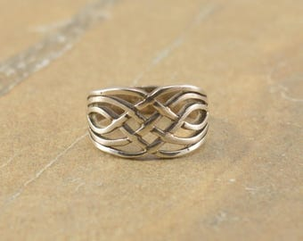 Celtic Style Woven Braided Band Ring Size 5.5 Sterling Silver 4g Vintage Estate