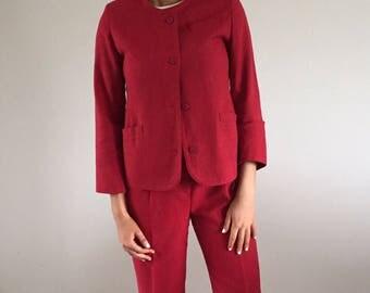 80s Linen Brick Red Minimalist Pant Suit | 4/6