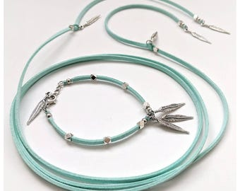 wrap necklace set teal necklace vegan leather cruelty free feathers and leather leather jewelry set feather necklace leather choker