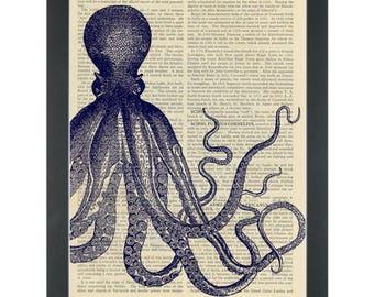 Blue Kraken body set Dictionary Art Print