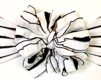 Black and white striped ruffle messy bow, messy headband, messy bow headband, ruffle bow, mini messy bow, Halloween bow, messy bow head wrap