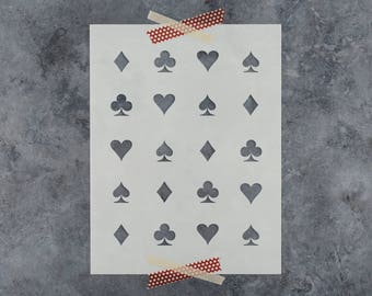 Hearts Clubs Diamonds Spades Stencil - Reusable DIY Craft Stencil of Heart Club Diamond Spade Card Pattern