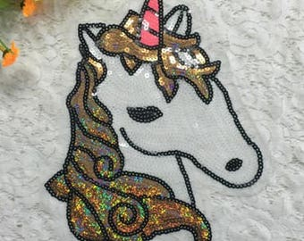 1pcs Embroidered Sew on patches for clothes brand unicorn sequins no.130