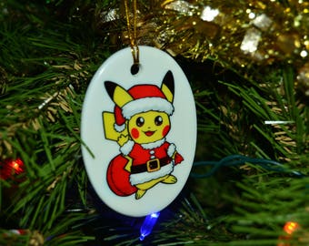 Santa Pikachu Ornaments - 2.5 inch ceramic oval - can be customized