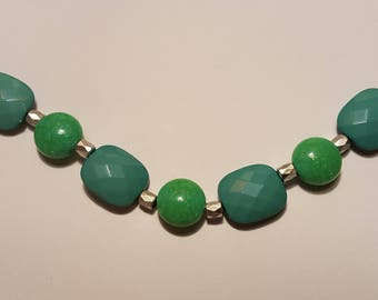 Acrylic Green With Green Glass Beads Silver Bracelet