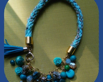 cornflower blue tassel necklace