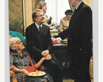 ON SALE Washington DC, President Jimmy Carter and Mother Lillian 1977 Vintage Chrome Postcard