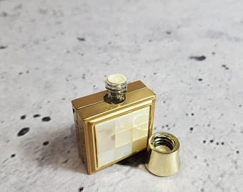 SALE Antique Perfume Case / Pearl And Gold Perfume Bottle / Fragrance Container / Cologne Holder Vanity Accesory