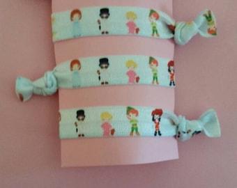 4 piece Peter Pan character elastic Hair tie set