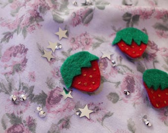 Strawberry felt Pin Felt Brooch