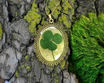 "Genuine 4 Leaf Clover Cameo Necklace [BC 011] /Gold Tone 18"" Necklace / White Clover Pendant / Triforium Repens / Good Luck Charm"