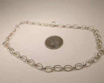 Gorgeous Vintage Sterling Silver Charm Chain Bracelet or Anklet 10.5 Inch Length 925