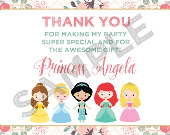 Customizable Disney Princess thank you card, Princess thank you card, Princess birthday thank you card