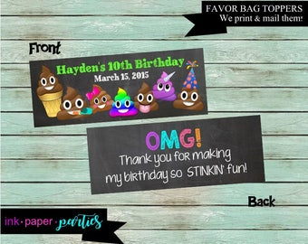 Emoji Emojis POOP Birthday Party Favors Favor Favors Bag Bags Treat Toppers - We Print and Mail to you!