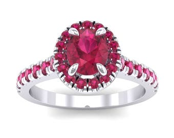 Halo Engagement Ring, Oval Halo Ruby Engagement Ring, Oval Ruby Ring, Oval Halo Ring, Engagement Ring, Ruby Engagement Ring