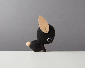 Black rabbit ornament, Cute desk accessory, Stuffed felt animal, Kawaii felt plush, Nursery décor, Rabbit lover gift