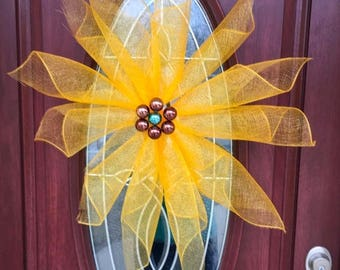 25% OFF Deco mesh flower wreath, yellow flower wreath, flower wreath, mesh wreath, spring flower wreath, summer flower wreath, door arrangem