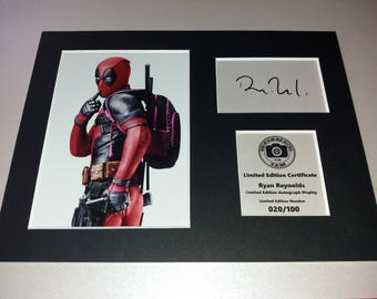 Ryan Reynolds - Deadpool - Signed Autograph Display - Fully Mounted and Ready To Be Framed V5
