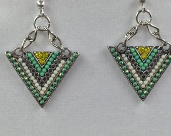 Spring Green Triangle Earrings