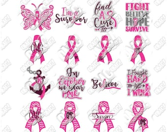 Breast Cancer Awareness SVG Bundle October Month svg dxf eps jpeg format layered cutting files clipart die cut decal vinyl cricut silhouette