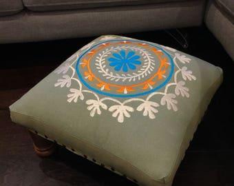 Vintage retro embroidered footstool