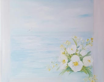 White flowers and sea