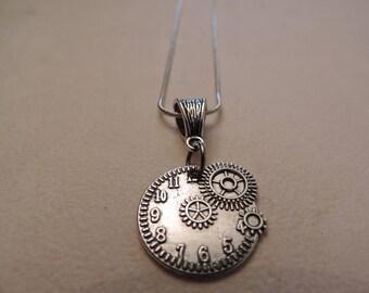 Retro futuristic jewelry, gear necklace