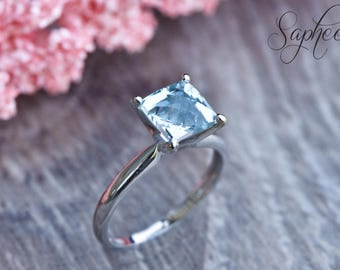 Aquamarine Princess Cut Solitaire Engagement Ring in 14k White Gold, Wedding Ring, Solitaire Ring, Bridal Ring, Promise Ring by Sapheena