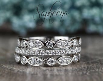 14k White Gold Set of 3- Scalloped Art Deco Bands&Dainty Half Eternity Band, Engagement/Wedding Band, Sapphire Stacking Bands by Sapheena