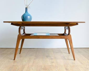 Rare BC Mobler Mid Century 1960s Danish Teak Metamorphic Extendable Coffee Dining Table