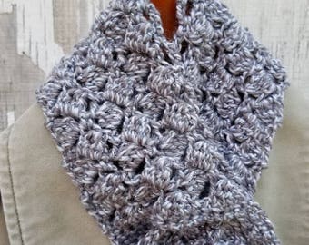 Silver Scarf - Crocheted Sparkling Sidesaddle Keyhole Scarflet in Overcast