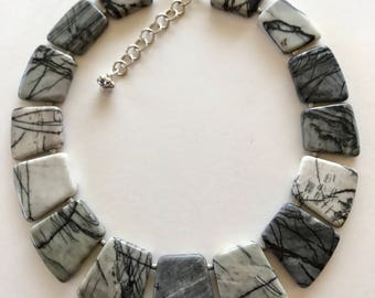 Necklace, collar, Zebra Jasper, sterling silver, stones, graduated, statement, elegant, adjustable